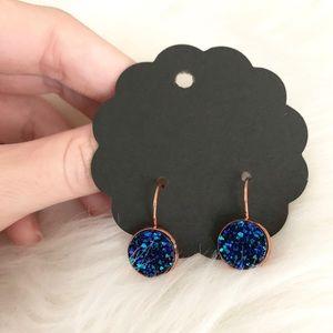 NWT Dark Blue & Rose Gold Lever Back Earrings